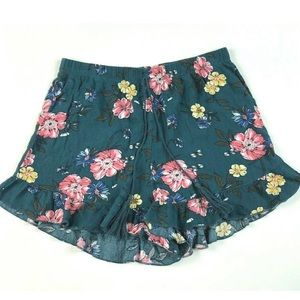 🍁No Boundaries M Floral Ruffled Shorts Drawstring